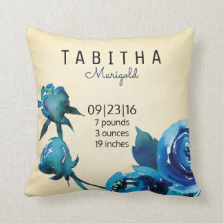 Newborn Peony Flower Birth Stats Keepsake Pillow
