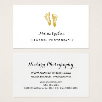 Newborn Photographer Elegant Faux Gold Footprints Business Card