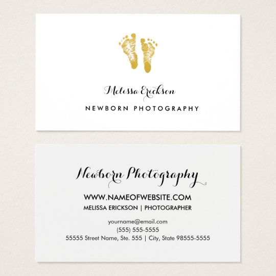 Newborn Photographer Elegant Faux Gold Footprints Business Card