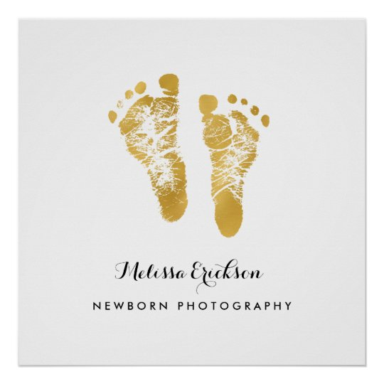 Newborn Photographer Elegant Faux Gold Footprints Poster
