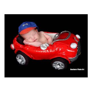 Newborn Racing Baby Post Card