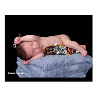 Newborn Skateboard Baby Post Card