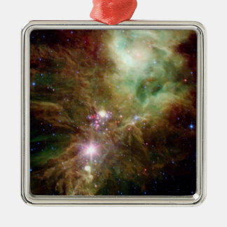 Newborn stars in the Christmas Tree cluster Silver-Colored Square Decoration