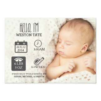 Newborn Stats Birth Announcement