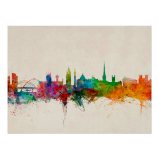 Newcastle England Skyline Poster