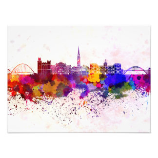 Newcastle skyline in watercolor background photo print