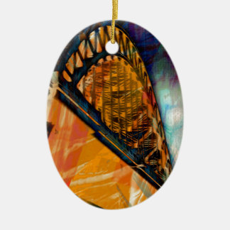 Newcastle Tyne Bridge Ceramic Oval Decoration