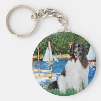 Newfie Landseer 3 - Sailboats Key Ring