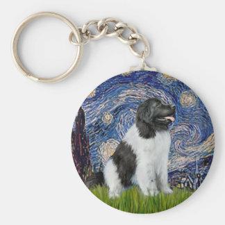 Newfie Landseer - Starry Night Key Ring