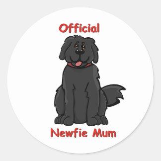 newfie mum round stickers