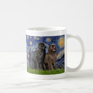 Newfie Pair - Starry Night Basic White Mug