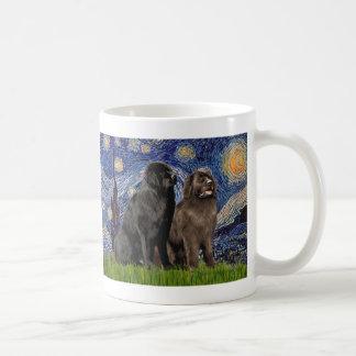 Newfie Pair - Starry Night Coffee Mugs