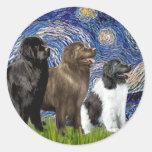 Newfie Trio - Starry Night Classic Round Sticker