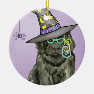 Newfie Witch Round Ceramic Decoration