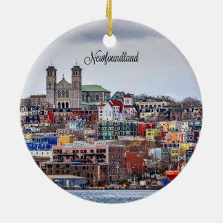 Newfoundland, cityscape photograph christmas ornament