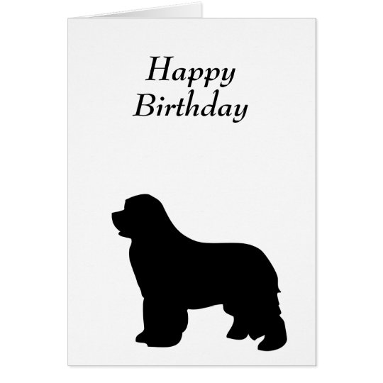 Newfoundland dog birthday card, black silhouette card