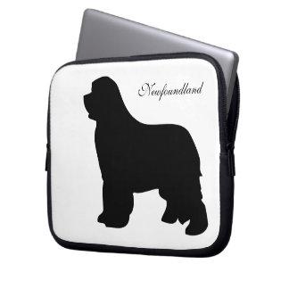 Newfoundland dog black silhouette laptop bag
