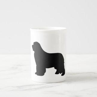 Newfoundland dog bone china mug, black silhouette