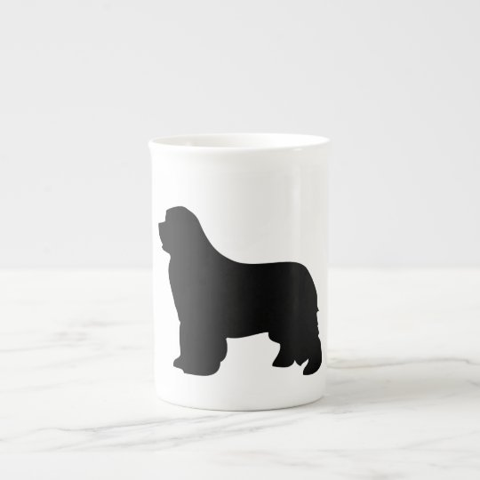 Newfoundland dog bone china mug, black silhouette tea