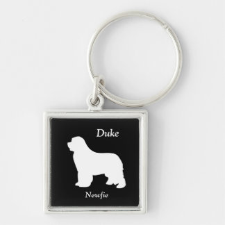 Newfoundland dog custom name silhouette keychain