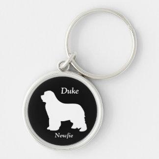 Newfoundland dog custom name silhouette keychain