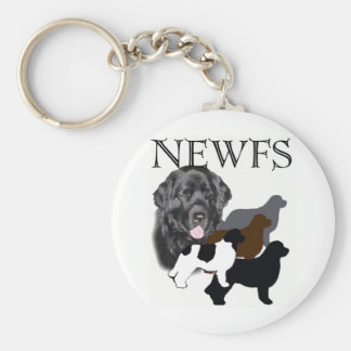 Newfoundland dog four colors basic round button key ring