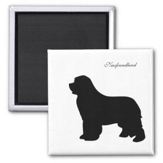 Newfoundland dog magnet, black silhouette magnet