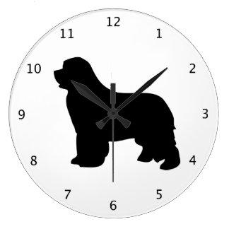 Newfoundland dog, newfie black silhouette large clock
