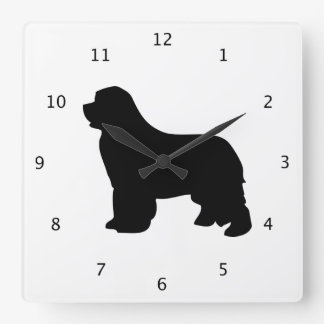 Newfoundland dog, newfie black silhouette square wall clock
