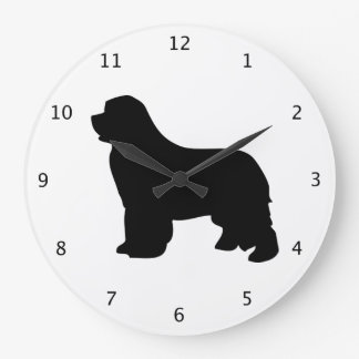 Newfoundland dog, newfie black silhouette wall clocks