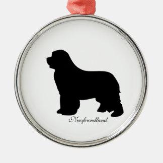 Newfoundland dog ornament, black silhouette, gift christmas ornament