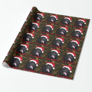 Newfoundland Dog Santa Hat Wrapping Paper