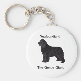 Newfoundland Dog The Gentle Giant Basic Round Button Key Ring