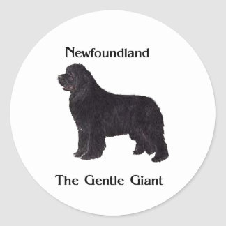 Newfoundland Dog The Gentle Giant Classic Round Sticker