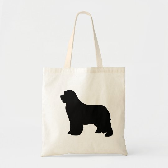 Newfoundland dog tote bag, black silhouette