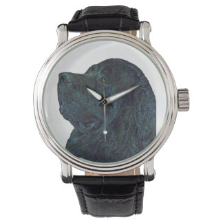 Newfoundland Dog Vintage leather Watch