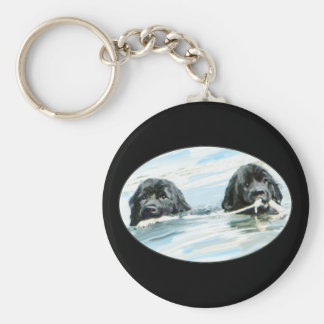 Newfoundland Dogs Swimming Key Ring