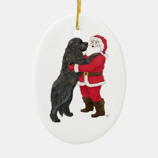 Newfoundland Jowly Christmas Greeting Christmas Ornament