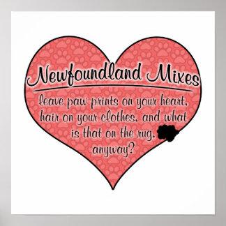 Newfoundland Mixes Paw Prints Dog Humor Poster