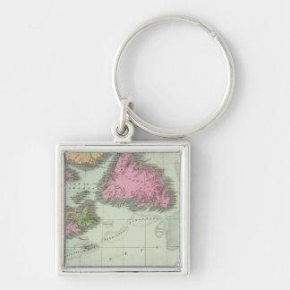 Newfoundland Nova Scotia And New Brunswick Silver-Colored Square Key Ring