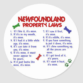 NEWFOUNDLAND Property Laws 2 Classic Round Sticker