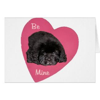 Newfoundland Puppy Dog Love Heart Greeting Cards