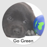 Newfoundland Puppy With Earth Round Sticker