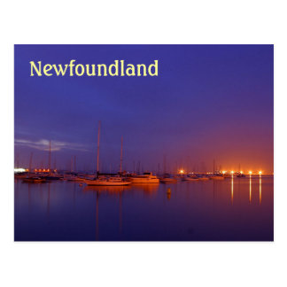 Newfoundland sailboats in marina at dusk postcard