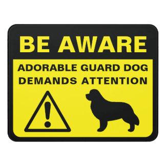 Newfoundland Silhouette Funny Guard Dog Warning Door Sign