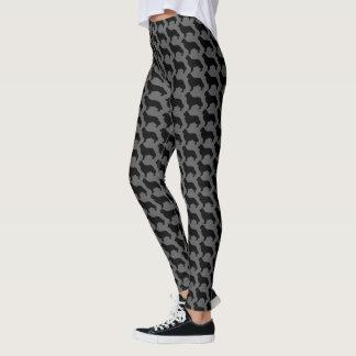Newfoundland Silhouettes Pattern Grey and Black Leggings