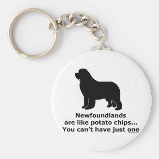 Newfoundlands are like potato chips basic round button key ring