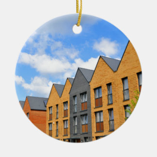 Newly built houses against blue sky christmas ornament