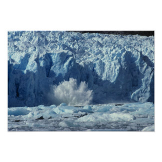 Newly-calved iceberg splashing into chilly poster