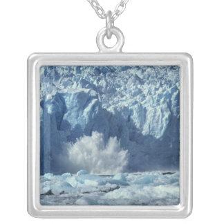 Newly-calved iceberg splashing into chilly square pendant necklace